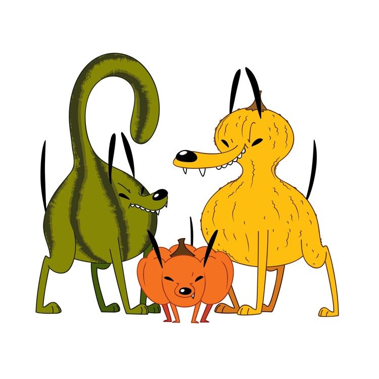 Gourd Dogs! (puns - illustration - kaseythegolden | ello