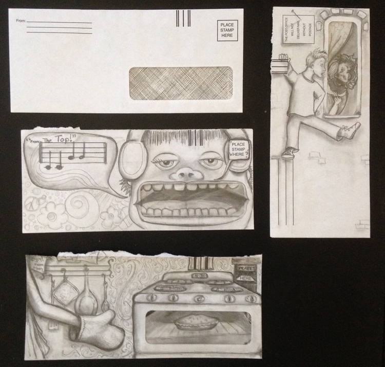 Recycled Envelopes - sketch, pencil - catsnodgrass | ello