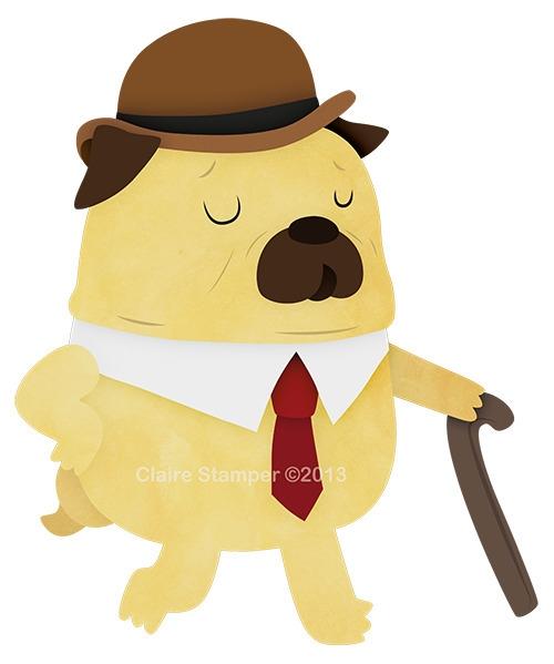 Fancy Pug - pug, character, vector - clairestamper | ello