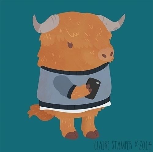 Highland Cow - highlandcow, cow - clairestamper | ello