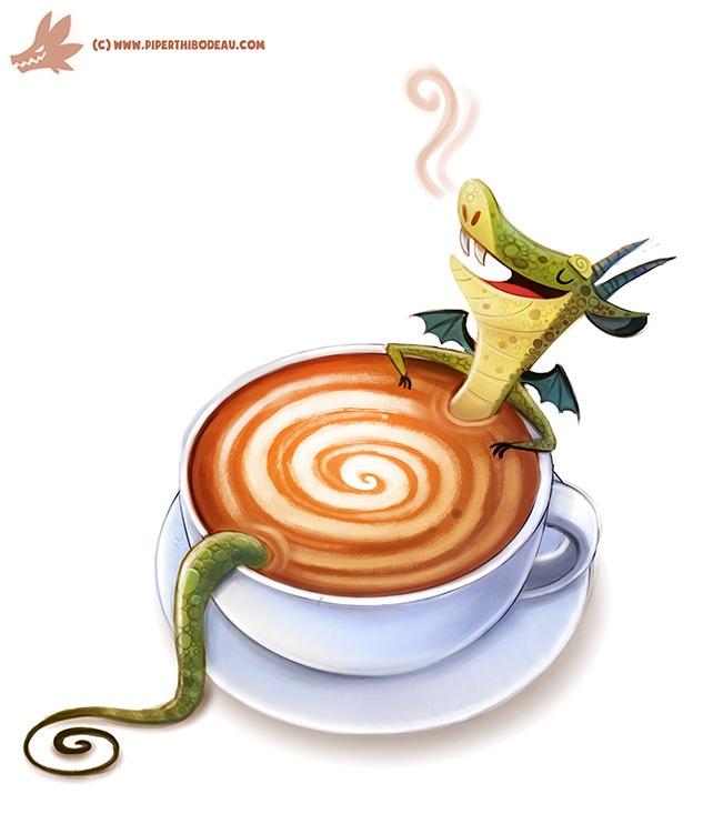 Daily Paint Latte Dragon - 1115. - piperthibodeau | ello