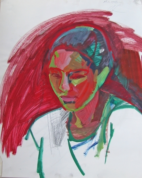 Portrait girl, tempera - portrait - adidraw | ello