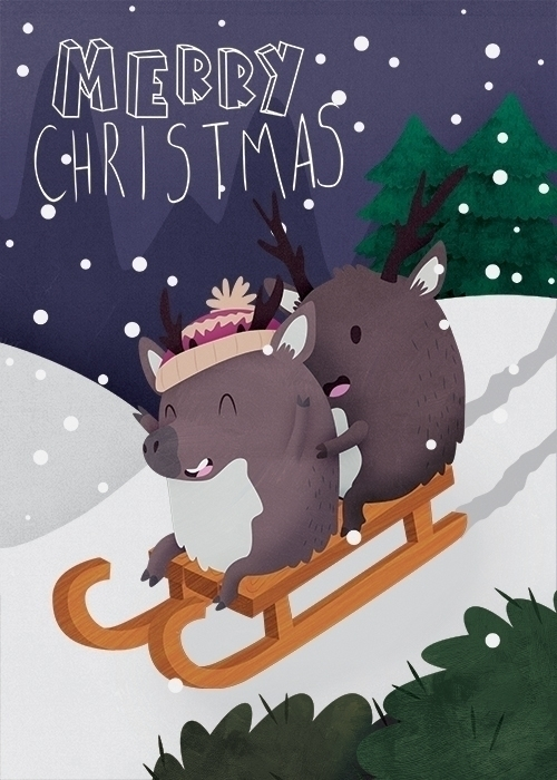 Christmas Card - Reindeer - Greetingscard - clairestamper | ello