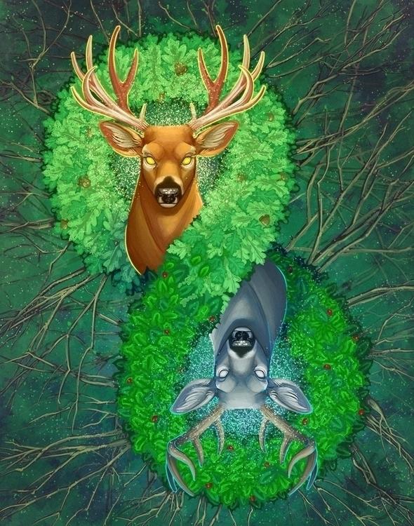 Oak Holly king. Summer Winter - illustration - reach-5958 | ello