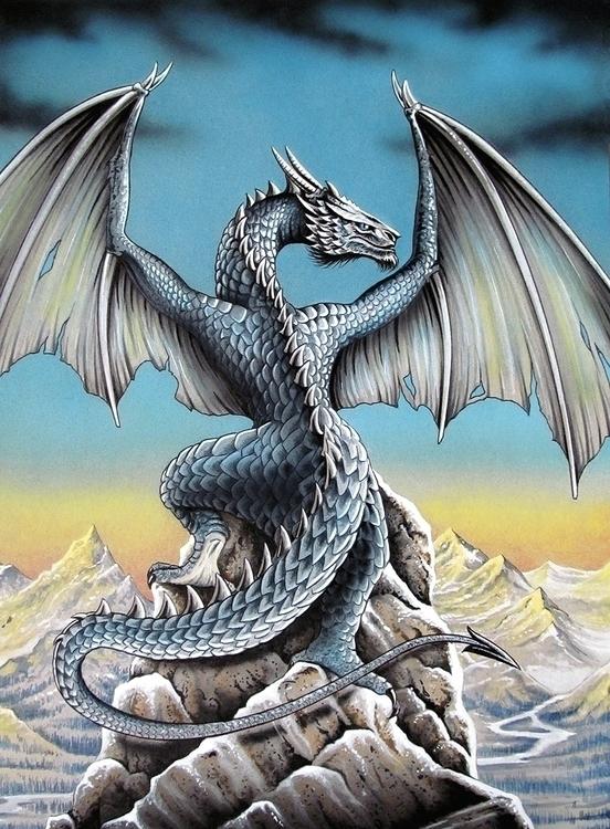 Blue Dragon. 38x 55 cm. Acrylic - jcberbes | ello