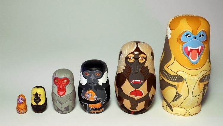 Monkey set - matryoshka, nestingdolls - thejoska | ello