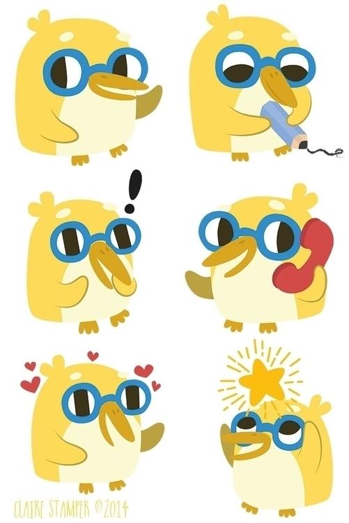 Yellow Penguins - yellow, penguin - clairestamper | ello