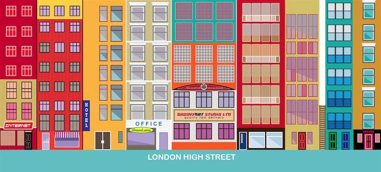 London High Street - illustration - marts-1415 | ello