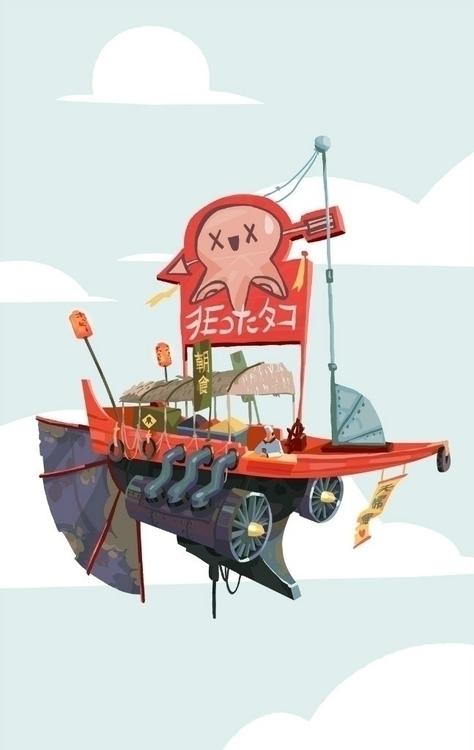 Flying restaurant - illustration - foxhideblog | ello