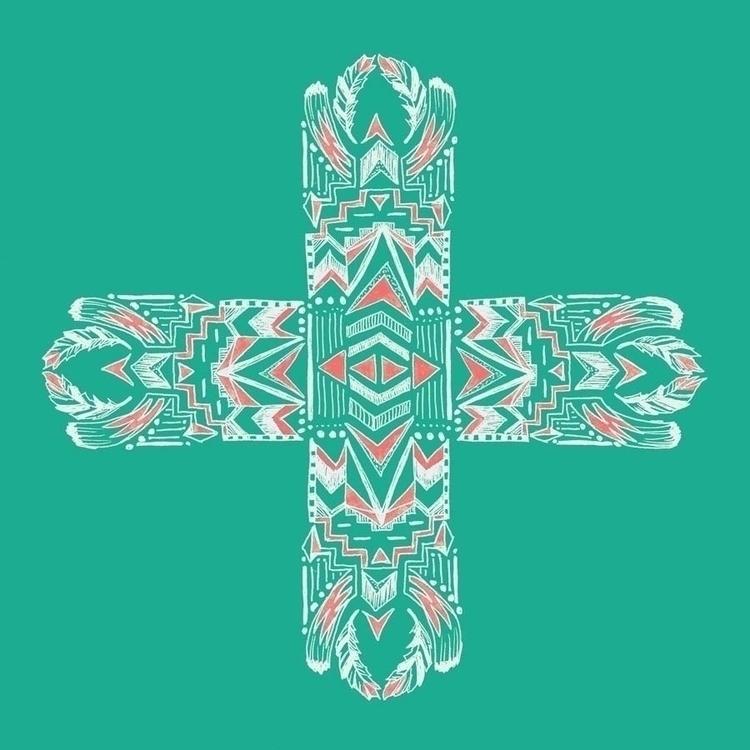 Tribal Cross green - tribal, illustration - tiki-1251   ello