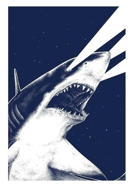 Eye Shark Silkscreen 50x70cm wh - marceautruffaut | ello