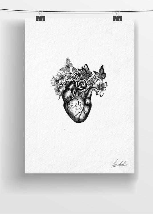 draw - drawing, art, heart, flowers - cardula | ello