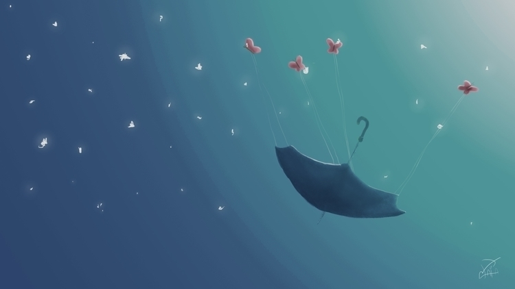 Bring umbrella - illustration, butterfly - binomaia | ello