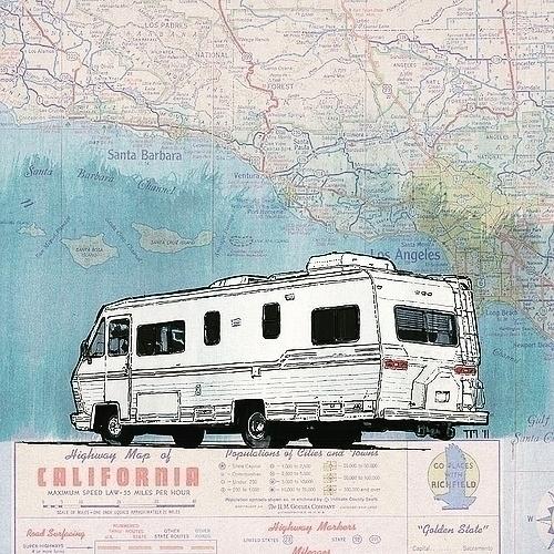 California RV - roadtrip, artwork - monkeycrisisonmars   ello