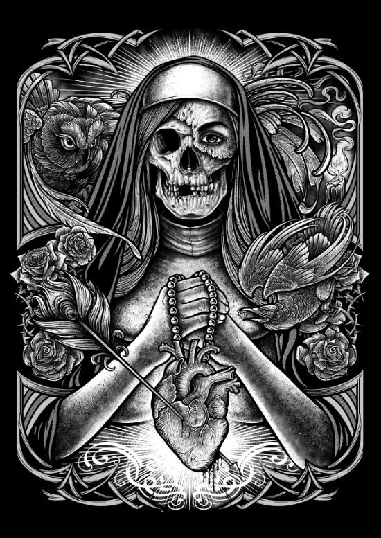 nun, zombie, zombienun, owl, tattoo - winya | ello