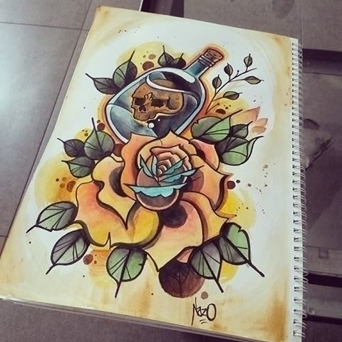Rose Bottle - illustration, painting - nazo-9352 | ello