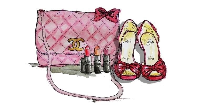 fashion illustration - handbag, lipstick - kaitlynsmith | ello