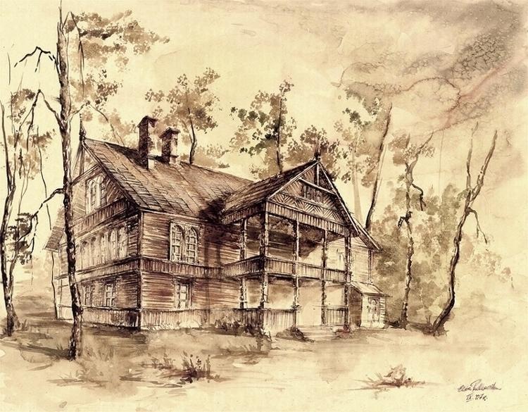 wooden house home town. Ink wat - grimdream | ello