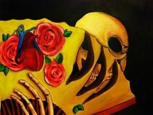 Acrylic skull painting, 2007 - Skull,fan,heart,roses - bambibanshee | ello