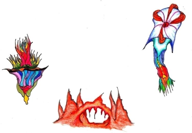 Alien flowers - drawing, conceptart - cheechwiz | ello