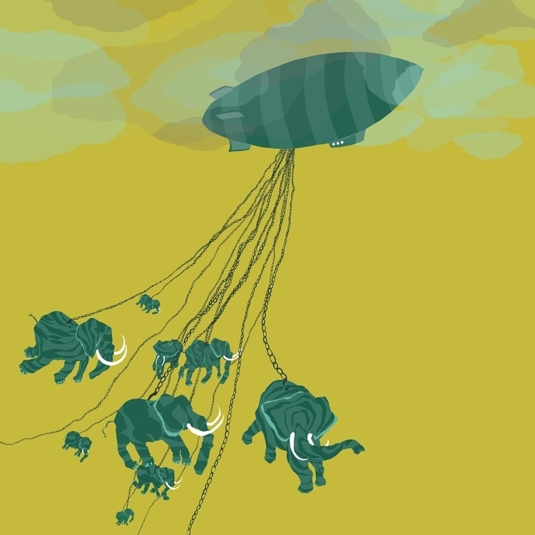 Slow Ride - elephant, yellow, blimp - charlottekingstonlarson   ello