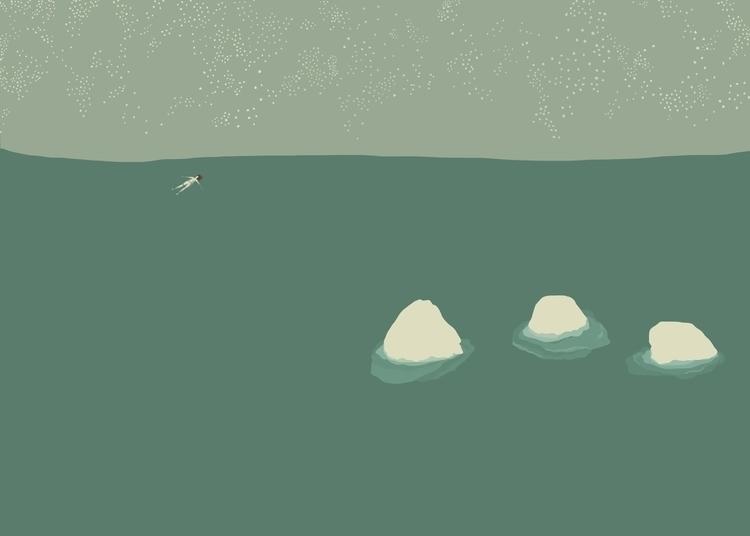 sea, rocks, figure, floating - charlottekingstonlarson | ello