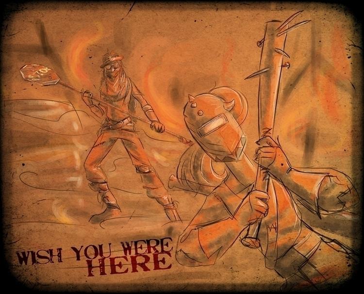 wasteland, postapocalyptic, doodle - foolishmortal-9324 | ello