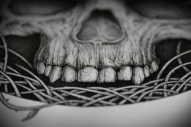 Confined - dotwork, illustration - artsc0re | ello