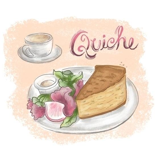 quiche illustration print - food - estherloop | ello