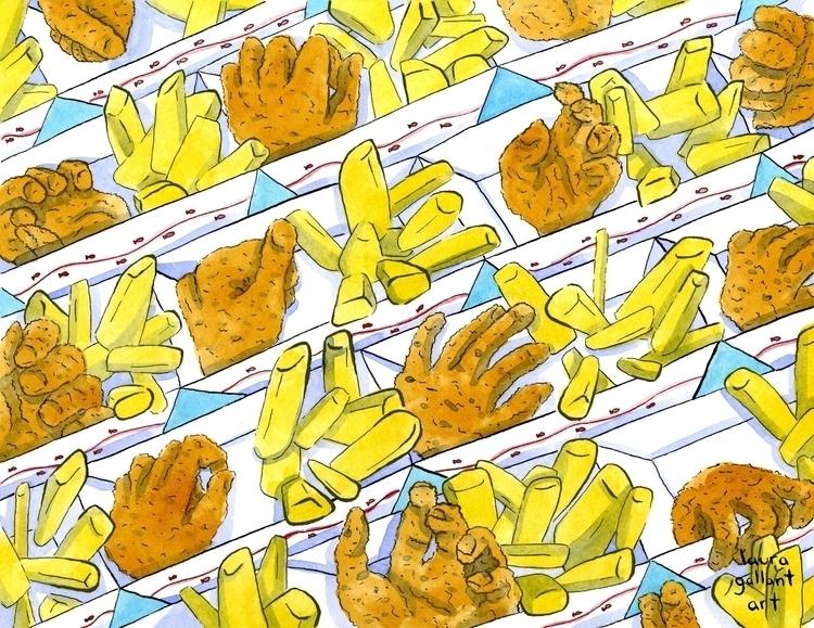 Fists Chips Digital, Watercolor - lgallantart | ello