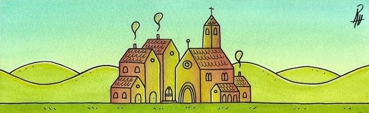 Home - Village - illustration, painting - marcorizzi-1205   ello