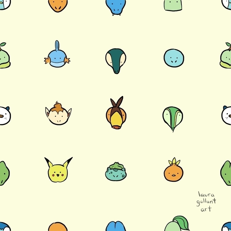 Starters Digital - pokemon, pattern - lgallantart | ello