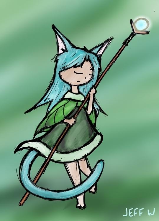 Cat Mage - digitalart, fantasy, girl - exiledsketches | ello