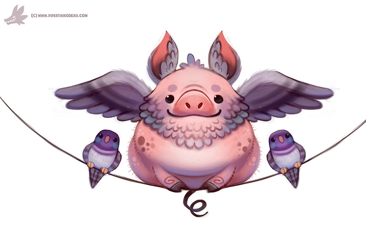 Daily Paint Flying Pig-eon - 1116. - piperthibodeau | ello