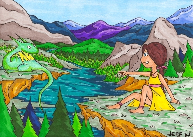 Mountain Lake - traditionalart, markers - exiledsketches | ello