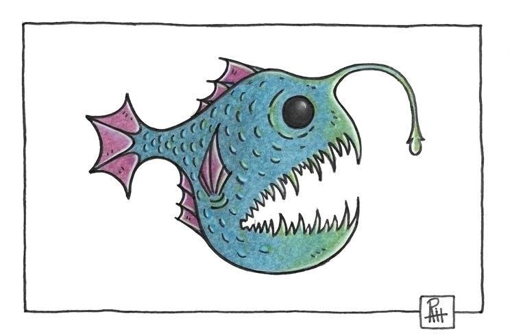 Deep sea fis - illustration, painting - marcorizzi-1205 | ello