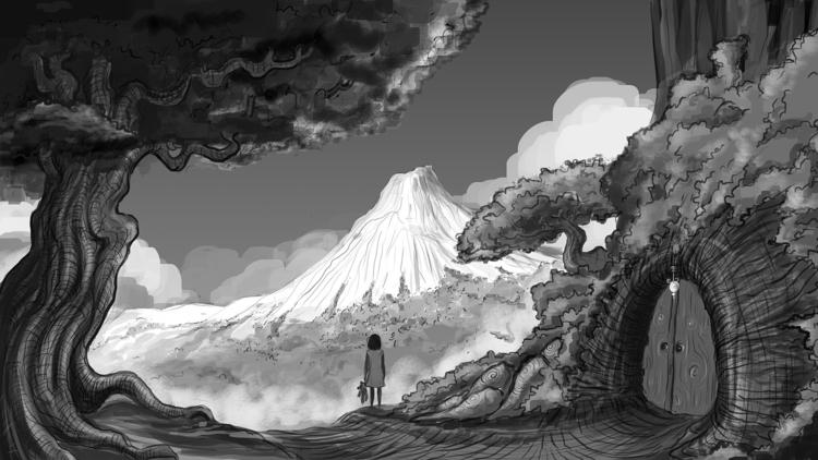White Mountain - illustration, painting - moonarun | ello