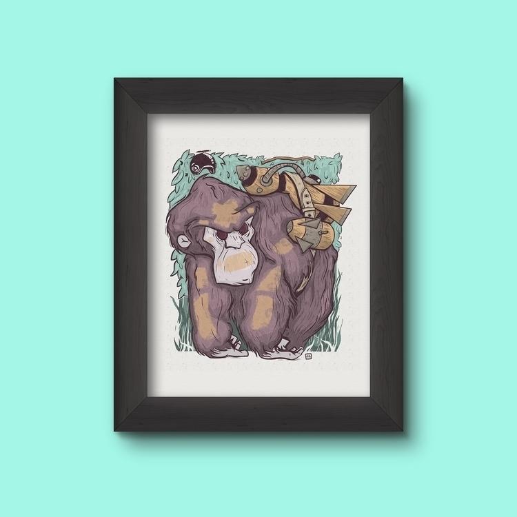 Bomber Gorilla - color - illustration - theroyalbubblemaker | ello
