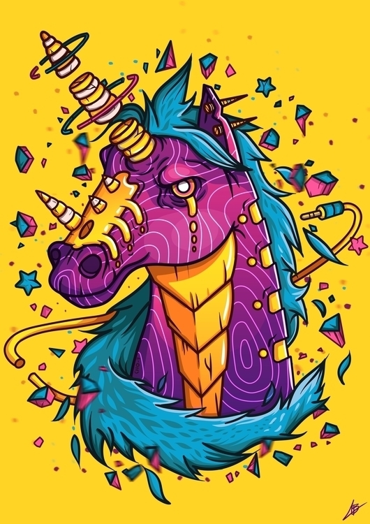 UNICORN - unicorn, dark, horns, pink - benben-9748 | ello