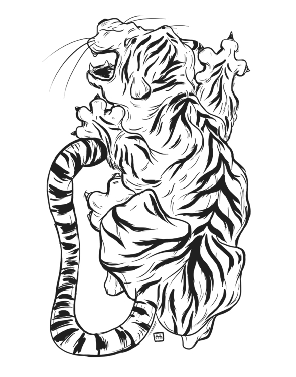 Tiger - poster, illustration, ink - theroyalbubblemaker | ello