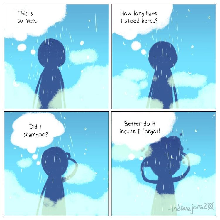 comic, shower, shampoo - indiana_jonas | ello