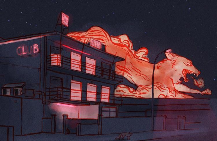 fox, urban, neon, illustration - keit | ello
