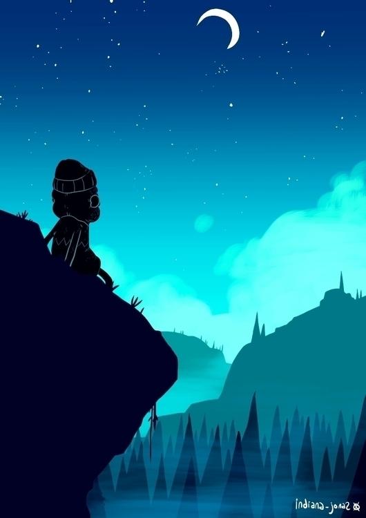 blackbeard, cliff, night - indiana_jonas | ello