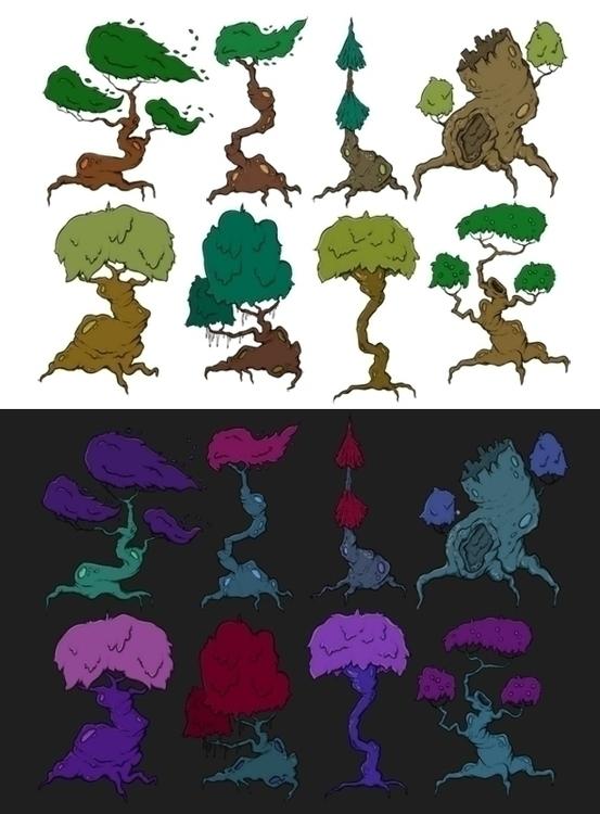 fantasy tree set 2D game art Gr - zita-3948 | ello