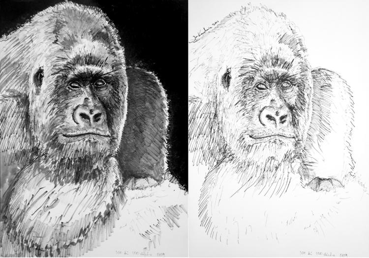 Gorilla Ink markers. A3 - ape, monkey - jandraws | ello