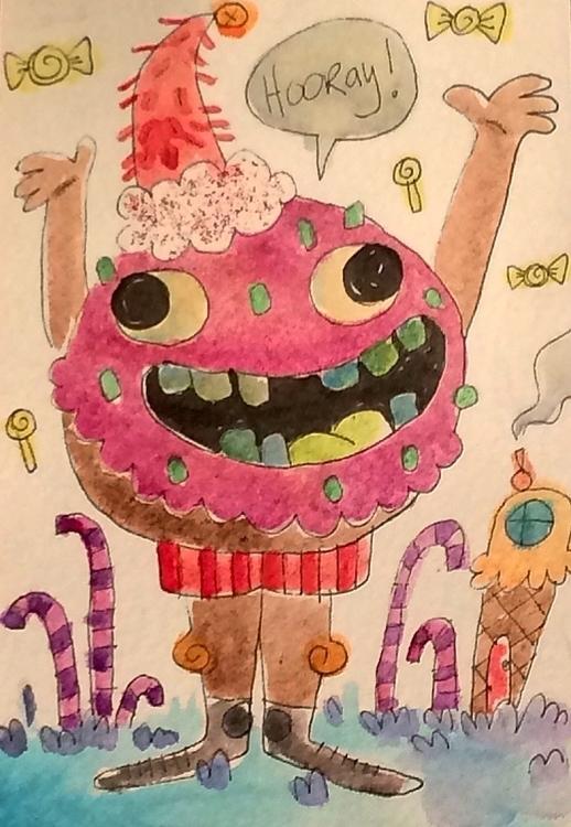 Jam, holiday donut - drawing, illustration - doodlesbymack | ello