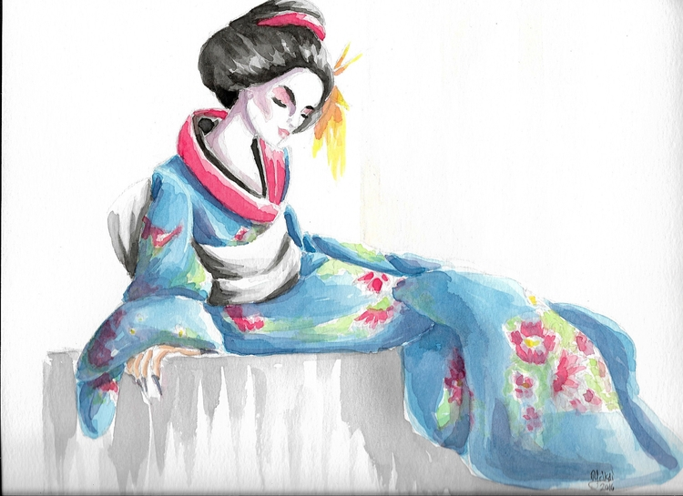 Geisha Watercolor - painting, watercolor - yaksiart | ello