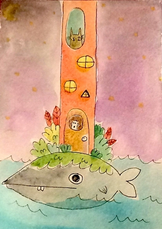 smells fishy - illustration, painting - doodlesbymack | ello