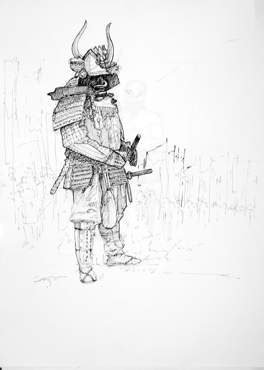 Bushi Ink paper, A3 - bushi, soldier - jandraws | ello