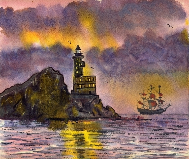 Lighthouse - watercolor, watercolour - naktisart | ello